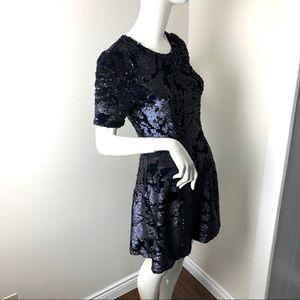 Fit & Flare dress Blue Velvet with Black Sequins S